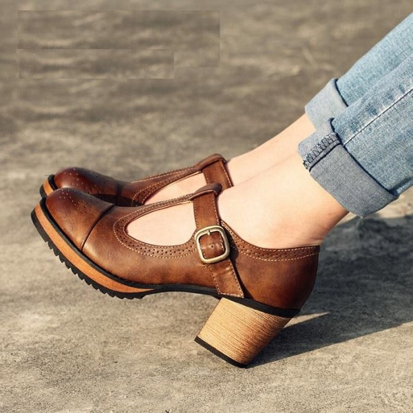Brown Block Heels